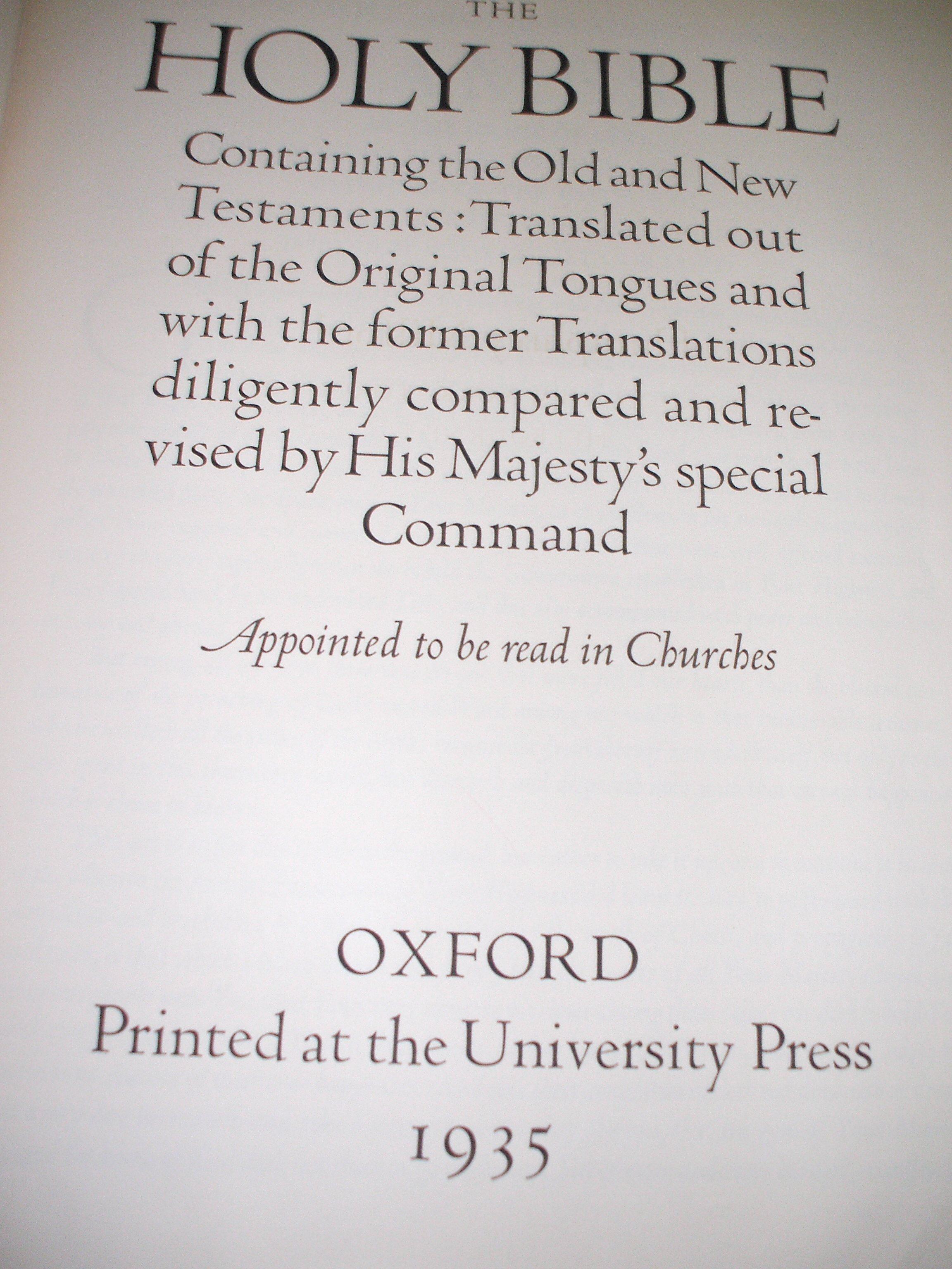 Oxford Letern Bible Title Page 2